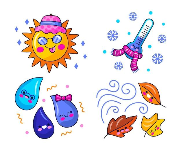 Kawaii weather stickers illustration