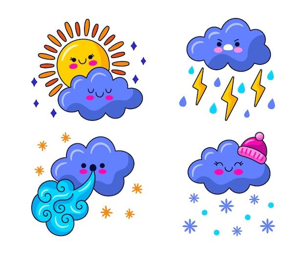 Kawaii weather stickers illustration Free Vector