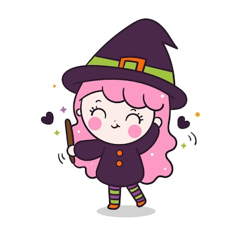 Kawaii witch girl holding magic wand