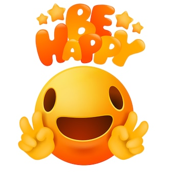 Kawaii yellow emoji smile face cartoon character. be happy greeting card
