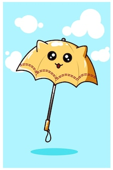 Kawaii yellow umbrella, cartoon illustration