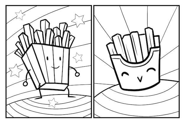 귀여운 감자튀김 색칠하기놀이 프리미엄 벡터