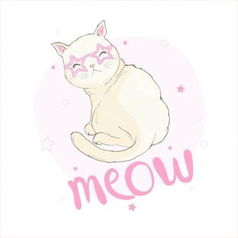 Нарисованная рукой иллюстрация вектора смешного кота единорога kawaii