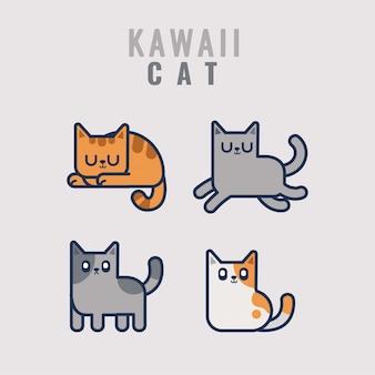 Kawaii кошка стикер коллекция символов