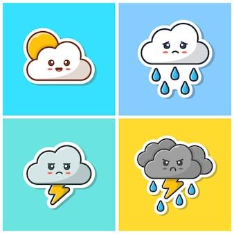 Симпатичные облако смайлик коллекция иконок. стикер смайлика облака kawaii, значок погоды изолированный