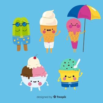 Коллекция персонажей мороженого kawaii