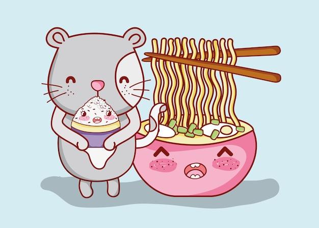 猫と日本の食べ物kawaii
