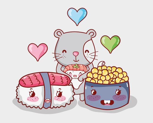 Кошка и японская кухня kawaii