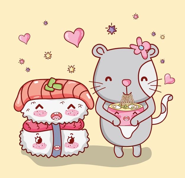 Кошка и японская еда kawaii