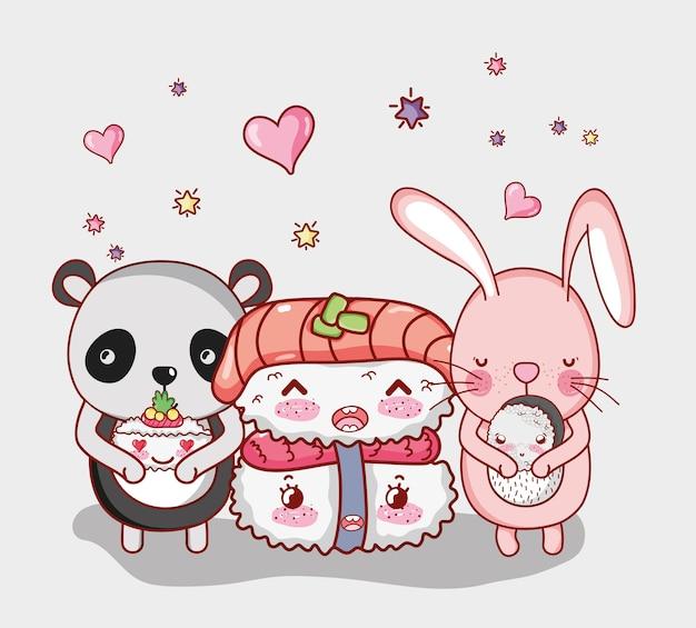 Kawaii животные и японская еда