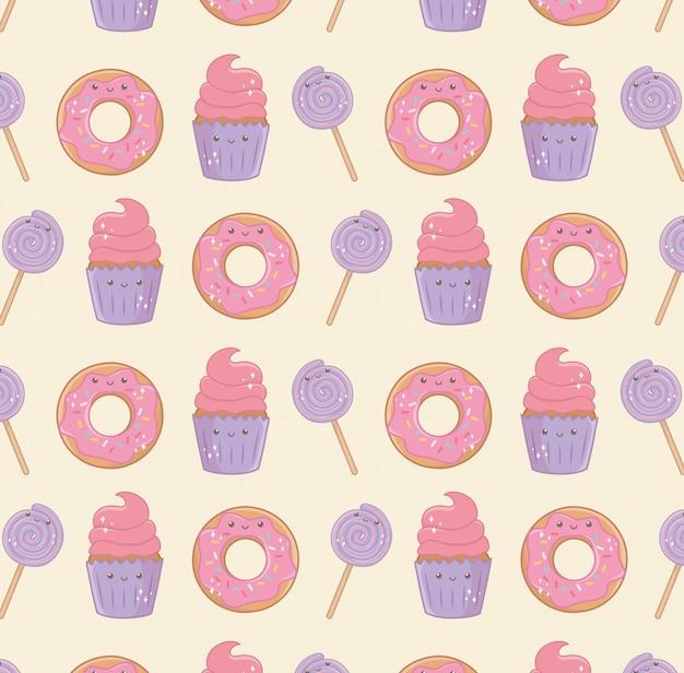 Вкусные и сладкие продукты kawaii символов картины