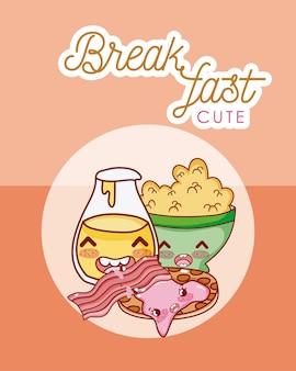 Симпатичный завтрак kawaii мультфильм