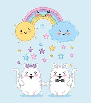 Kawaii пара кошки радуга облако солнце мультфильм