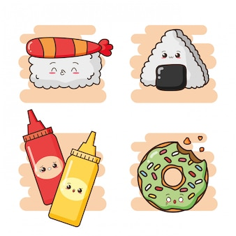 Kawaii фаст-фуд милые суши, соусы и милый зеленый пончик иллюстрации