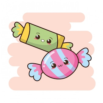 Kawaii фаст-фуд милые конфеты иллюстрация