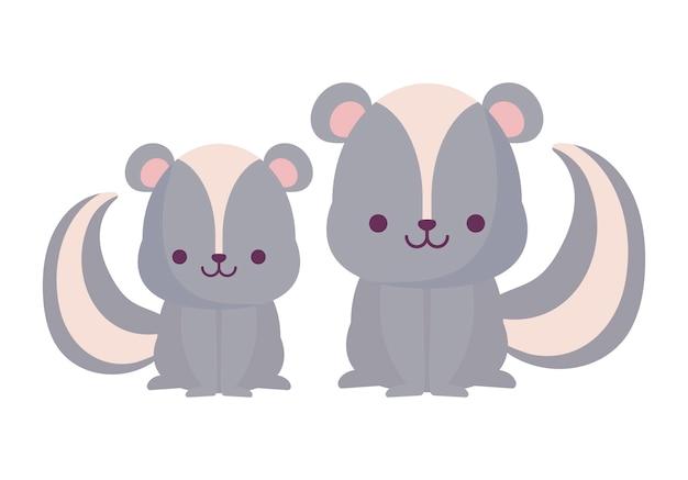 Kawaii скунсы дизайн мультфильмов