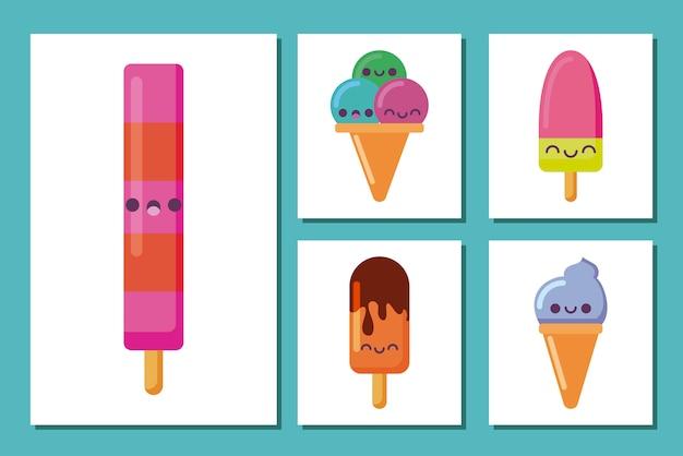 Kawaii мороженое и фруктовое мороженое мультфильмы