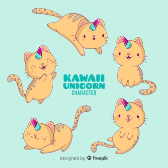 Kawaii кошка коллекция символов единорога