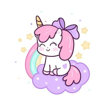 Kawaii единорог мультфильм на может и радуга рисованной стиль