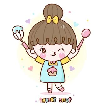 Kawaii девушка мило пекарня магазин еды