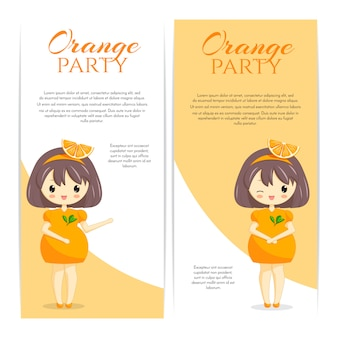 Комплект милых девушек kawaii в оранжевом платье с украшением в волосах изолированных на белой предпосылке. женский персонаж. фруктовая тема для пекарни, кафе, десертного баннера, флаера, сайта. векторная иллюстрация