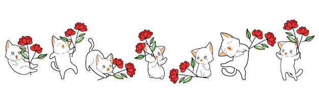 Kawaii кошки держат цветок