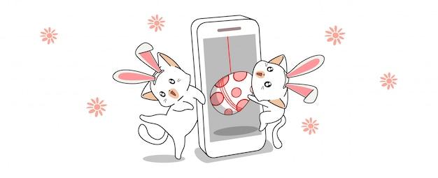 Баннер приветствие kawaii банни кошки находят яйцо в весенний день