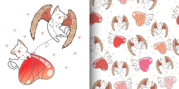 Безшовная картина кота купидона kawaii с воздушным шаром сердца