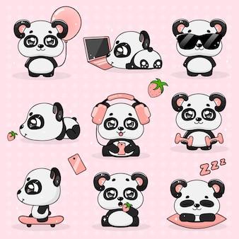 Установите kawaii сумасшедший маленькая панда, векторные иллюстрации.