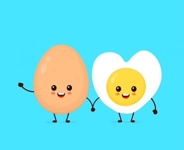 Счастливая милая усмехаясь смешная яичница kawaii. значок иллюстрации персонажа из мультфильма вектора плоский. изолированный на белой предпосылке. симпатичные каваи жареное сердце формы яйцо характер концепции