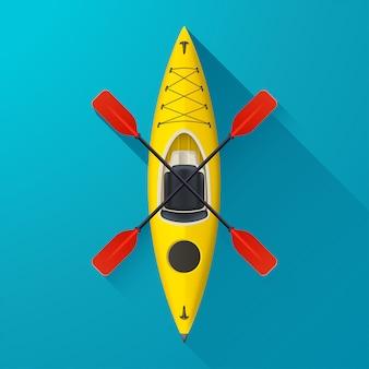 Kayak on blue background
