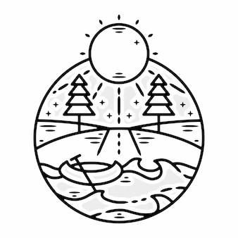 카약 보트 야외 미니멀리스트 빈티지 로고 배지 템플릿 모노 라인 그림 프리미엄 벡터