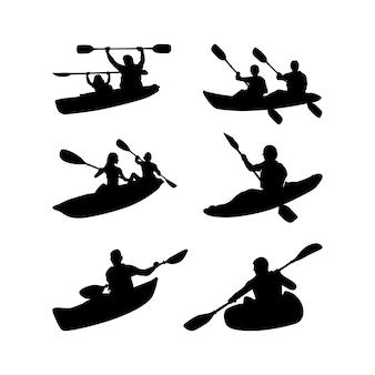 Kayak boat paddle pedal set  kayaker silhouette set inspired design collection