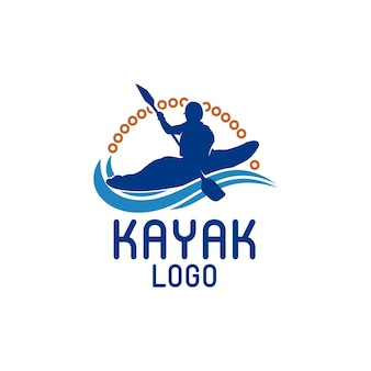 Kayak boat paddle pedal silhouette of river stream kayaker logo design