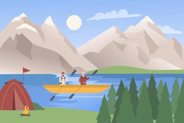 Путешествие на байдарках, приключения, водные экстремальные виды спорта, рафтинг, туристы в горном пейзаже