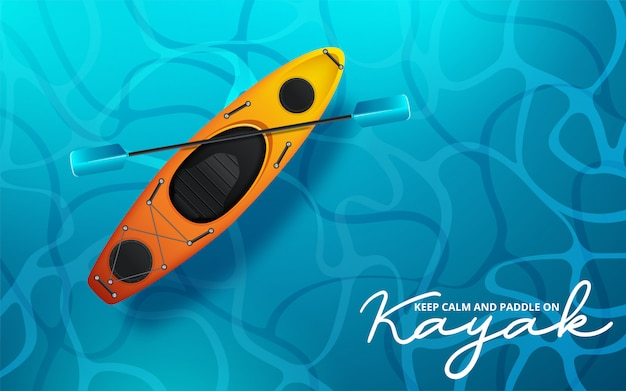 Kayak vector illustration, kayaking water sport