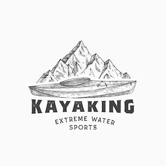 カヤックの抽象的なサインシンボルまたはロゴテンプレート手描きのカヤックまたはカヌーボートと山の風景...