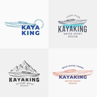カヤック抽象的なサインシンボルまたはロゴテンプレートコレクション手描きのカヤックまたはカヌーボートと山...