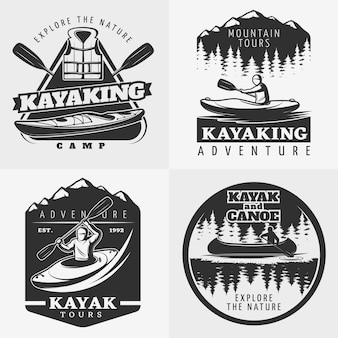 Kayaking adventure logo composition