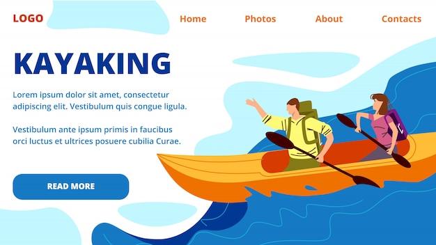 Kayaking landing page web template. young people row kayak