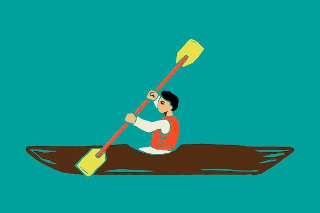 Kayaking man cartoon sticker  in traveling theme
