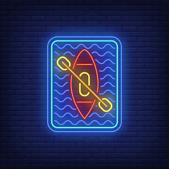 Kayaking neon sign