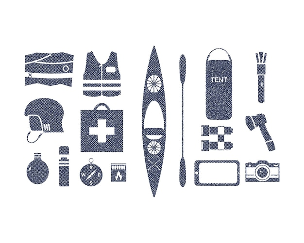 Kayaking and outdoors camping adventure equipment in retro rough style. kayak gear isolated on white. use for infographics, as icons on website, t-shirt graphic prints. vector.