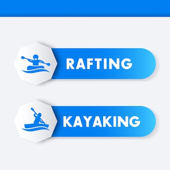 Kayaking rafting icons banners labels in blue