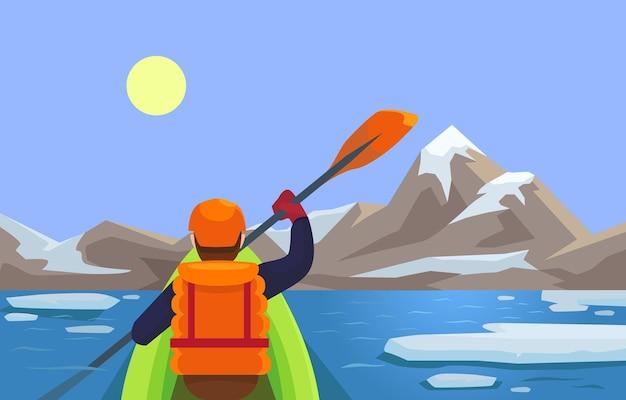Каякинг по реке спортивный плоский рисунок