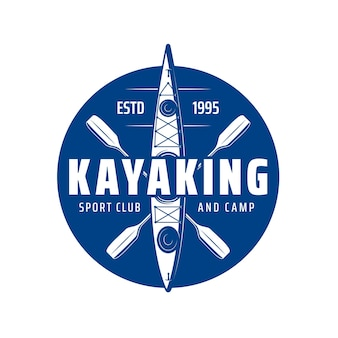 Kayaking sport club icon with kayak boat or canoe paddle rowing, vector. kayak club and camp, river or lake and sea rafting sport activity and extreme adventure, blue emblem