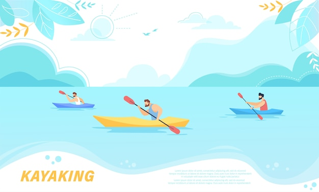 Kayaking sport competition. sportsmen rowing in kayaks at rocky shore.