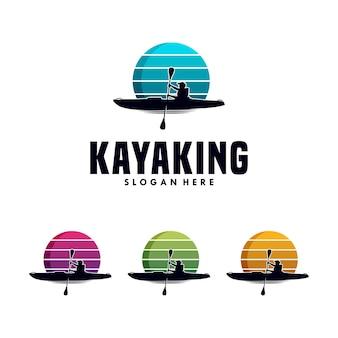 Kayaking sport logo design template