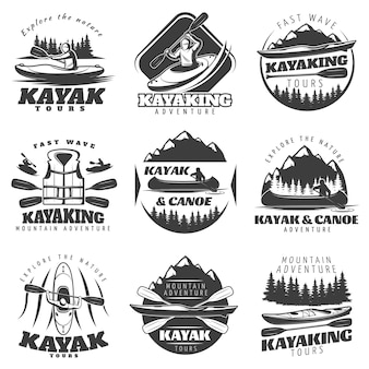 Kayaking tour logos set