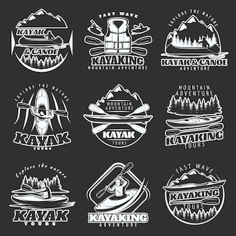 Kayaking tours logo set